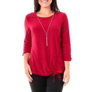 NY Collections Garnet Petite Ruched 3/4 Sleeve Top